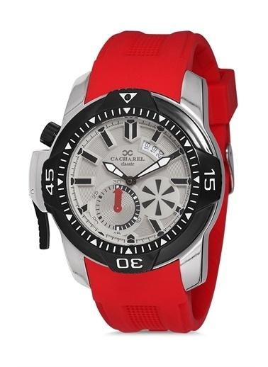Cacharel Cacharel Chrl40763Se  Silikon Kordon  Gümüş Kasa  Erkek Analog Kol Saat Kırmızı